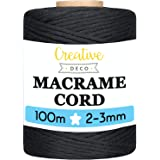 Creative Deco 100 m Zwart Macrame Koord Katoenen Koord | 2-3 mm (+-0.5 mm) Dikte 15-laags Koord | 328 Voeten | Grote Touwrol