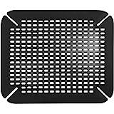 iDesign Tapis d'évier, Grand Tapis d'évier de Cuisine en PVC, Accessoires pour évier et évier avec Trous de Drainage, Noir
