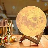 OxyLED Led-maanlamp, 18cm, met afstandsbediening, gekleurde decoratieve lamp, 3D, maan, kunstled, RGB, maanlicht, draagbaar n