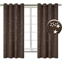 BGment Kids Blackout Curtains for Bedroom - Eyelet Thermal Insulated Silver Star Print Room Darkening Curtains for Living Room, 2 Panels (W46 X L54 Inch, Brown)