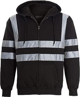 shelikes Mens Zip Up Fleece Hoody Hooded Hi Viz Visibility Sweatshirt Safety Security Work Jumper Top