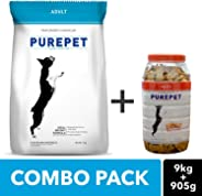 Purepet Adult Dog Combo Pack of Chicken & Vegetable Food 9kg, Real Chicken Treats 1kg