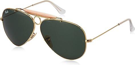 Ray-Ban Unisex Sonnenbrille Shooter, Gr. Large (Herstellergröße: 58), Gold (Gestell: Gold, Gläser: Grün Klassisch 001)