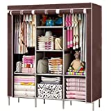 FASNO 6+2 Layer Fancy and Portable Foldable Collapsible Closet/Cabinet (Need to Be Assembled) (Brown)