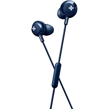 Philips Bass+ SHE4305 Headphones with Mic (Blue)