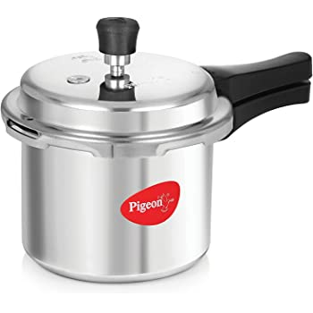 Pigeon Favourite Outer Lid Non Induction Aluminium Pressure Cooker, 3 Litres, Silver (Non Induction)