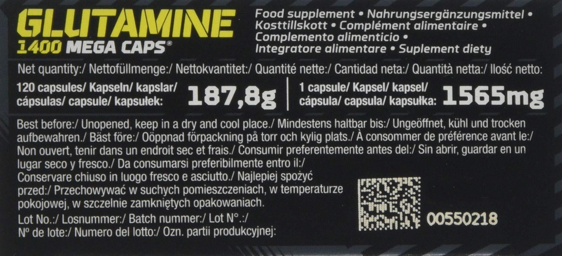 71ajKX vb4L - Olimp Labs L-Glutamine Capsules, Pack of 120 Mega Capsules 24757