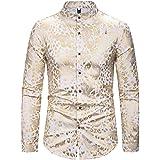 BEIXUNDIANZI Shirt Men Casual Fashion Print Comfortable Round Neck Design Shirt Spring and Fall New Slim Button Host Wedding