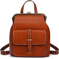 ECOSUSI Rucksack Damen Rucksackhandtaschen Vintage Klein Daypack Tagesrucksack Kunstleder Wasserabweisend Reise Rucksack…