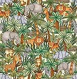 Stoff Baumwollstoff Jungle Buddies - Dschungel Tiere -