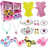 WTOR 24Pcs Princess Dress Up Shoes Toy 4 Girl Plastic Shoes and Jewelry Accessories Role Play Collection Shoe Set Gift for To