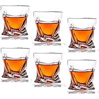 Lawei Lot de 6 Verre de whisky Transparents Twist Verres à whisky en Cristal pour Vin Cocktails ou Jus - 300ml