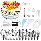 WisFox Plateau à Gâteaux, Kit de Pâtisserie Plateau Tournant de Gâteau 152 Pcs Gâteaux Tournant pour Cuisine Décoration de Gâ