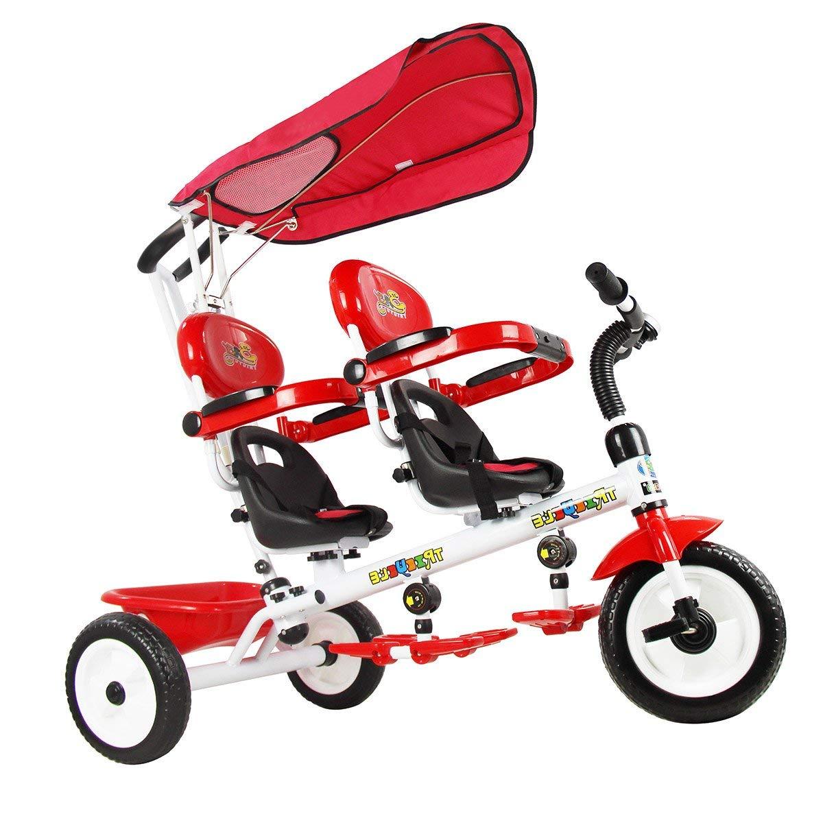 vengaconmigo Triciclo Gemelar para Niños Triciclo Infantil Doble con Sombrilla Triciclo para Gemelos Barandilla y Pedal Plegable Configurados (Rojo)