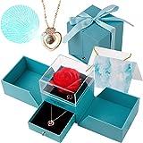 HMGDFUE Rosa Stabilizzata, Rosa Eterna con Ti Amo Confezione Regalo Collana Rosa Regalo per Festa della Mamma, San Valentino,
