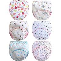 Ceguimos Lot de 6 Culottes d'apprentissage lavables Coton pour bébé Fille