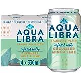 AQUA Libra Sparkling Water, Sugar Free Fruit Water, No Sugar, No Calories, Cucumber, Mint and Lime, 330 ml, Pack of 4…