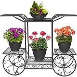 Kundi 6-Tier Cart Planter Stand, Outdoor Flower Rack Flower Pot Display Rack 62x69x22cm (Black)