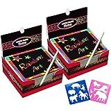 Global Tronics 200 Fogli di Disegni Scratch Art con 10 Stencil 2 Penne Blu, Set Creativo Fogli Arcobaleno Colorato da Scarabo