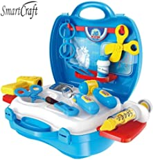 smartcraft Kid's Plastic Little Doctor's Bring Along Medical Clinic Suitcase Toy - Set of 18 (Decor Set)