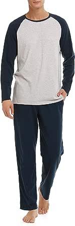 Genuwin Men's Cotton Sleepwear Long Sleeve Top & Bottom Pajama Set, Fitted Nightwear Sleepwear Loungewear Pyjama PJ Set