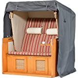 Beschermhoes voor strandstoel, winterbestendig, met duurzame PVC-coating, stabiel waterdicht, grijs (128 x 105 x 165/140 cm)