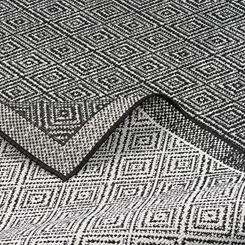 CAMPUS In & Outdoor Teppich Beidseitig Flachgewebe Hampton Schwarz Meliert