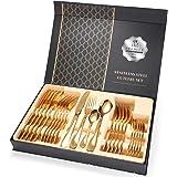 طقم ادوات مائدة مكونة من 24 قطعة باللون الذهبي مصنوعة من الستانلس ستيل لخدمة 6 اشخاص، يشمل سكينة/شوكة/ملعقة/ملعقة شاي، بلمسة