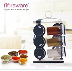 Floraware Plastic Revolving Spice Rack Set, 140ml, Set of 12, Blue