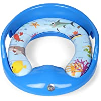 Tucute Supplies Soft Cushion Baby Potty Seat with Handle and Back Support Toilet Seat for Western Toilet (Blue)