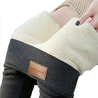Yutdeng Donna Leggings Inverno Leggings Pantaloni a Vita Alta Elasticizzato Larghi Termici Fodera in Velluto Pantaloni