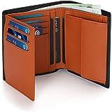 Vemingo Portafoglio uomo,Portafoglio da uomo RFID in formato verticale, 12 scomparti per carte di credito e grande portamonet