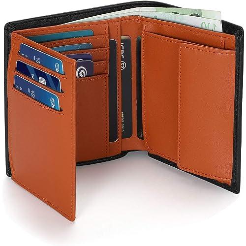 Vemingo Portafoglio uomo,Portafoglio da uomo RFID in formato verticale, 12 scomparti per carte di credito e grande portamonete, da uomo,con confezione regalo (Nero e arancione)