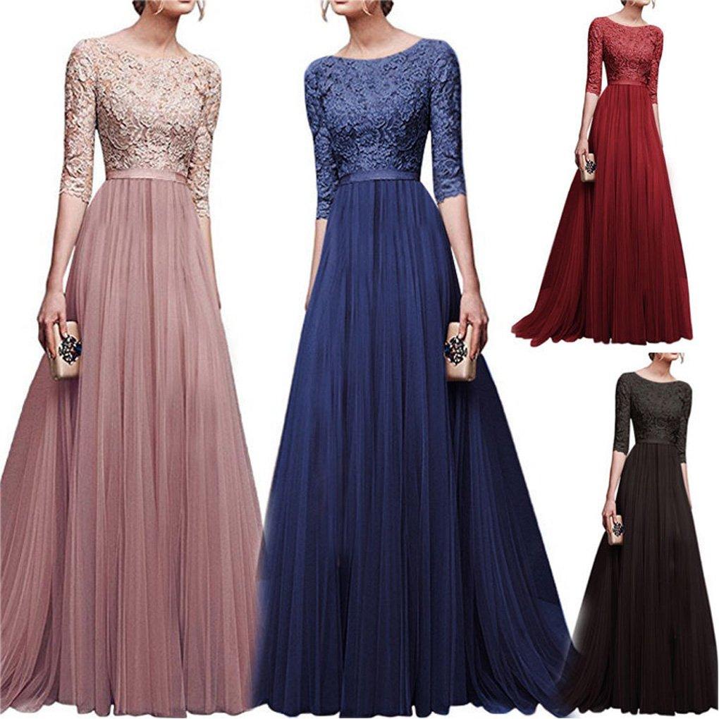 e0b20fe490f2 Minetom Donna Vestito Lungo Abito Da Cerimonia Elegante Vestiti Da  Matrimonio Lunghi Formale Banchetto Sera Maxi Dress Pizzo