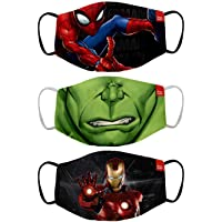 Bon Organik Mighty Avengers (OFFICIAL MERCHANDISE) 2 Ply Printed Cotton Cloth Face Mask Bundle For Kids (Set Of 3) (9…