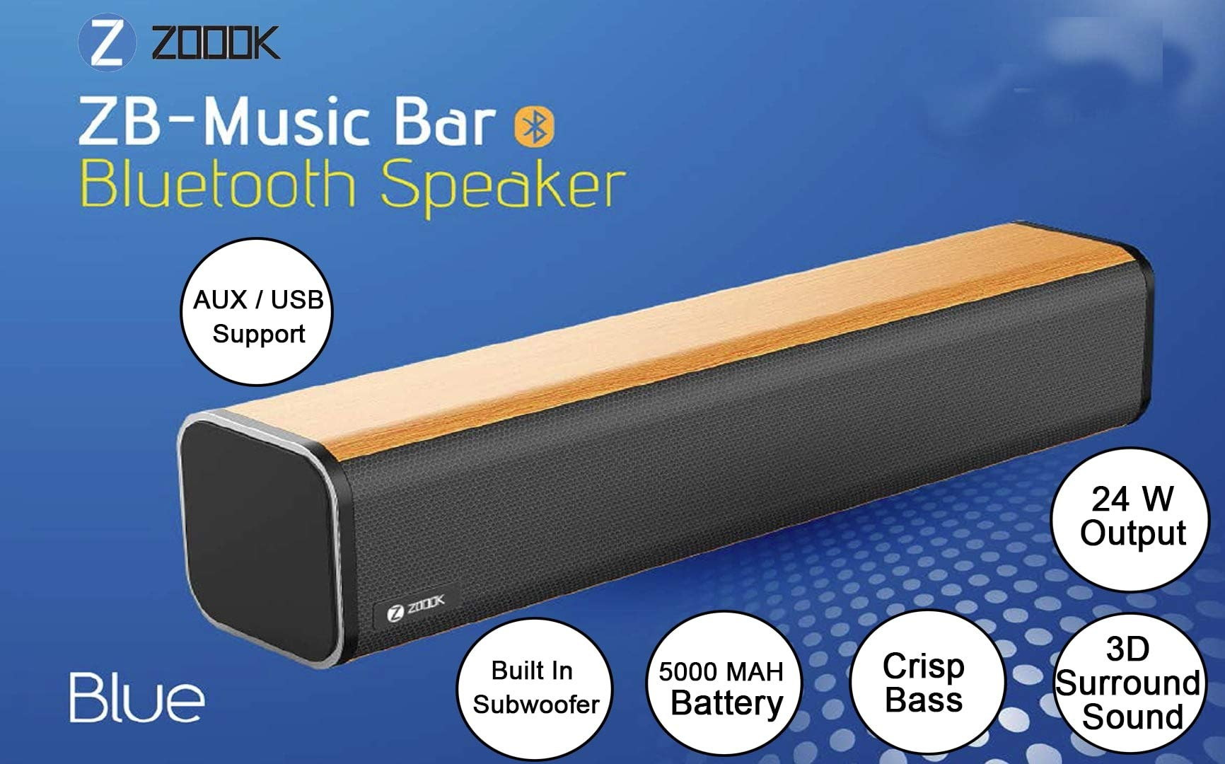 Zoook Music Bar 24 watts Bluetooth Soundbar with Wooden Finish and 3D Sound