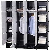 WOLTU SR0090sw Armoire plastique chambre faite de modules avec 2 tringle à vêtements pour le stockage de vêtements, accessoir