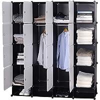 WOLTU SR0090sw Armoire plastique chambre faite de modules avec 2 tringle à vêtements pour le stockage de vêtements…