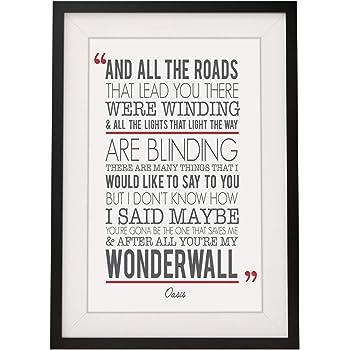 Oasis wonderwall song lyrics gift framed print with mount 12 x oasis wonderwall song lyrics gift framed print with mount 12 x 10 inch stopboris Images