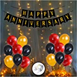 Party Propz Anniversary Decorations for Home With Happy Anniversary Banner Kit, Metallic Balloons 1set LED Lights Combo 54Pcs
