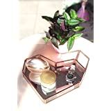 Ruhi Collections Heart Glass Tray with Rosegold Electroplating and Mirror Base Vanity Tray Table Decoration [10 x 8 inches]