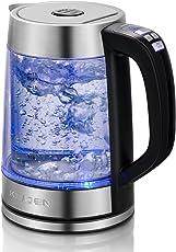 Elektrischer drahtloser Glaskessel mit blauem Beleuchtungs-LED Licht, Temperaturüberwachung 1.7L