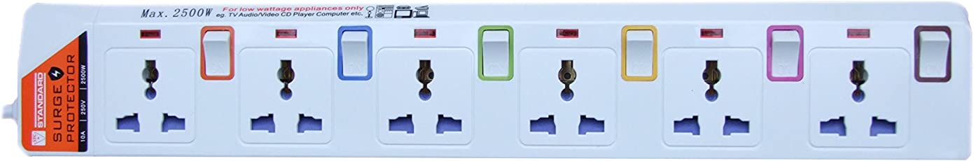 ZIPP Outlet 6 Individually Controlled Switch & Surge Protector with 15ft Cord and White Base (S 5m 6)