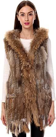 Ferand - Gilet Giacca Lunga Con Cappuccio Elegante In Vera Pelliccia di Coniglio con Collare In Pelliccia di Procione per Inverno - Donna
