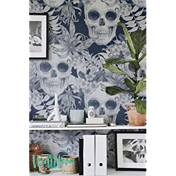 Hibiscus And Skull Wallpaper Removable Wallpaper Fern Wallpaper Wall Sticker Fern Wall Decal Scull Adhesive Wallpaper