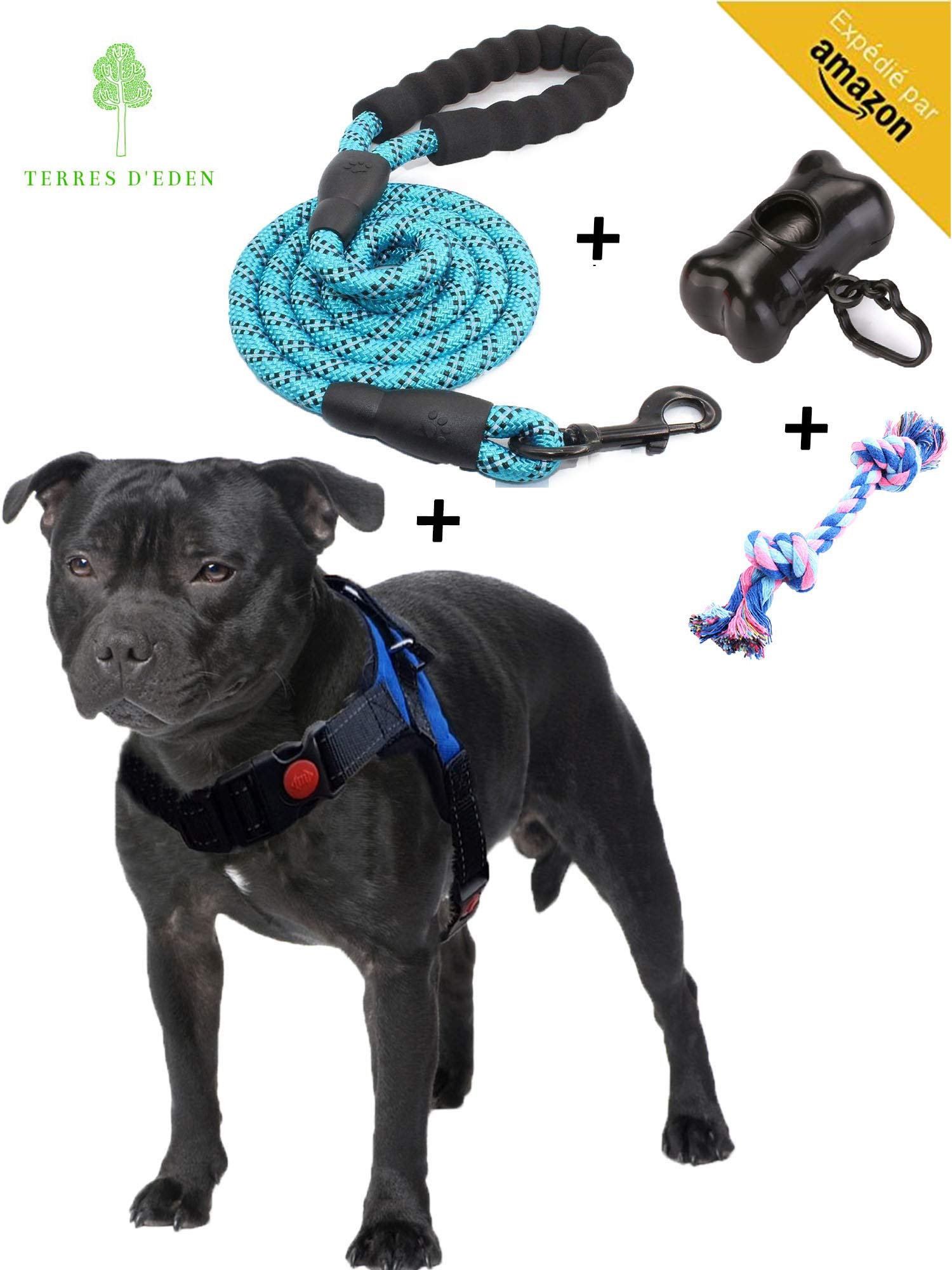 Dog Harness, Medium Dog Harnesses, Dog Harnes, Adjustable And Reflective Strap for Medium Dogs – Perfect for Puppy, Bulldog, Staffy, Beagle, Cocker Spaniel – SIZE M [Satisfied or Reimbursed]