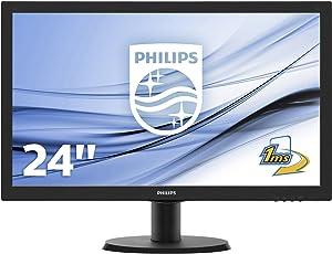 Philips 243V5LHAB 59,9 cm (23,6 Zoll) Monitor (VGA, DVI, HDMI, 1ms Reaktionszeit, 1920 x 1080, 60 Hz) schwarz