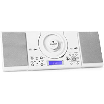 auna MC-120 Impianto Stereo HiFi compatto (lettore Cd, lettore MP3, Ingresso USB e AUX, Radio AM/FM, orologio Integrato) - bianco