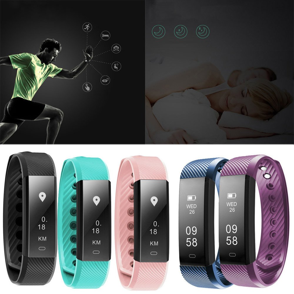 Overdose Smart Bracelet Heart Rate Monitor Fitness Tracker Activity Tracker  Bluetooth Pedometer with Sleep Monitor Smartwatch for Android and iOS