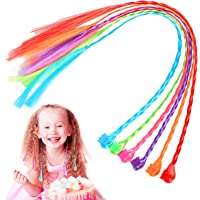 CHIFOOM 24pcs Nylon Braided Hair,Colorful Kid Braid Extensions Attachments 33cm Rainbow Clip-on Hair Pieces with Neon Clip Snaps for Cosplay Princess Girls Birthday Party Dance Favors